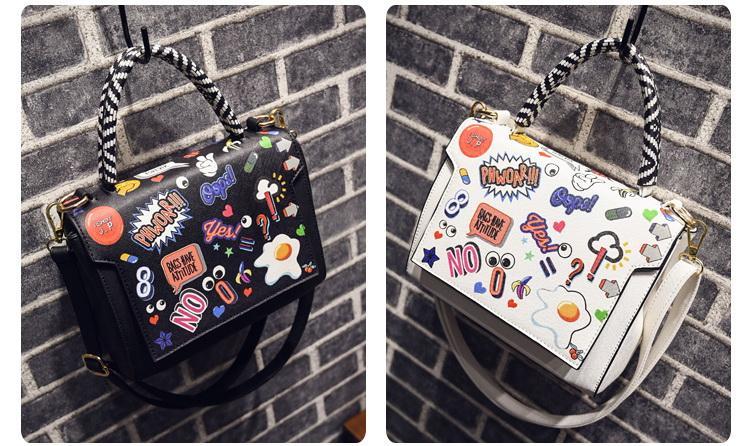 women cartoon printing single shoiulder messenger crossbody designer handbags female evening totes lady fashion bags no25