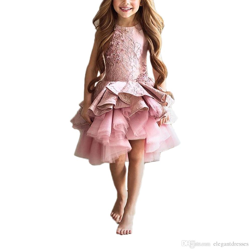 2017 Short Blush Children Little Girls Pageant Interview Suits Pink Puffy Girls Prom Dress Kids Tulle Kids Evening Gowns