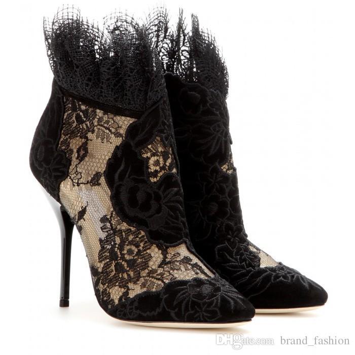 Stivaletti autunnali donna moda britannica Stivaletti a punta sexy Stivaletti neri con tacco alto e lusso Taglie forti 42