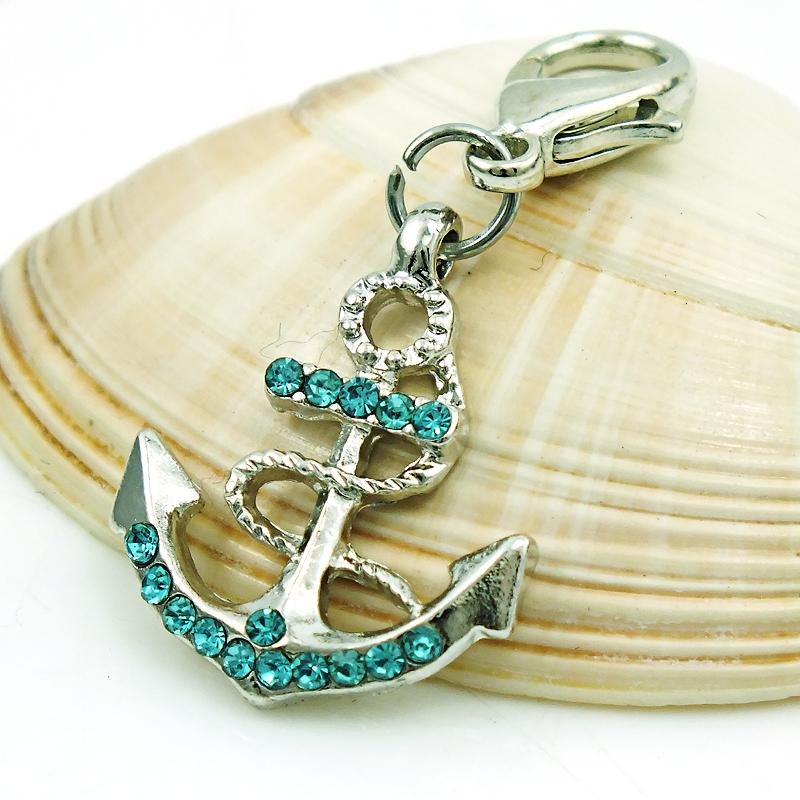 Encantos flotantes de moda con broche de langosta cuelgan Rhinestone Anchor colgantes hallazgos DIY encantos para la joyería que hace los accesorios