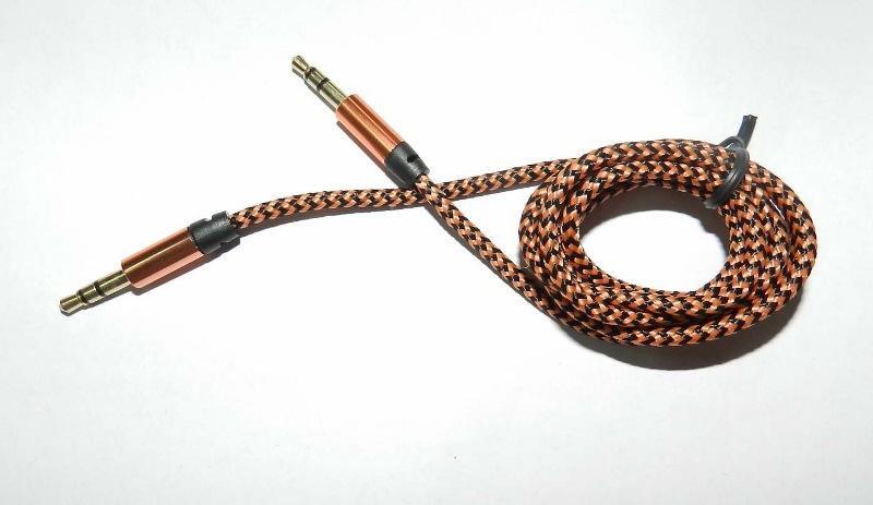 アルミニウム金属アダプターナイロン波編組コード3.5mmステレオオーディオAUXケーブル1M 3FT /ロット