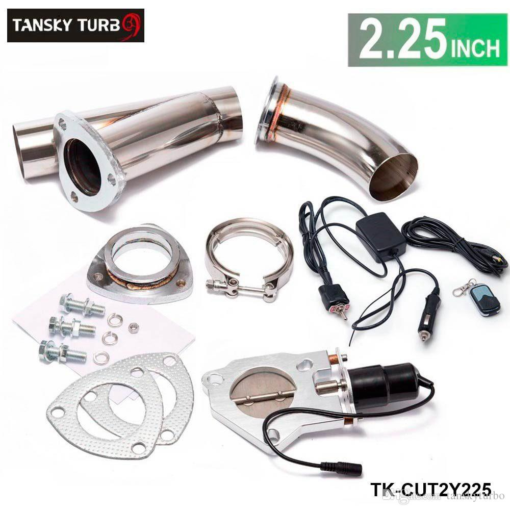 "TANSKY - exhaust cutout valve 2.25"" /E-cutout W/Switch /Remote /Switch+Remote Downpipe Cut out Valve System Kit"