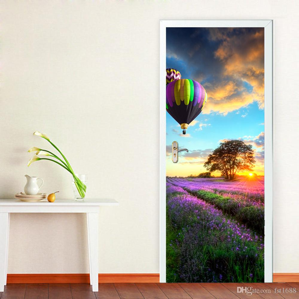 3D Hot-Air Balloon Door Mural Sticker Romance Florals Lavender Wall Stickers Decorative 3D Large Size 77*200cm Paper Material Home Decor