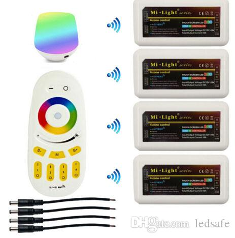 Mi Light WIFI Controller +4pcs 2.4G 4 Zone Group RGB RGBW LED Controller + RF Touch Remote for RGBW LED Strip Light Bulb Lamp DC 12V 24V CE