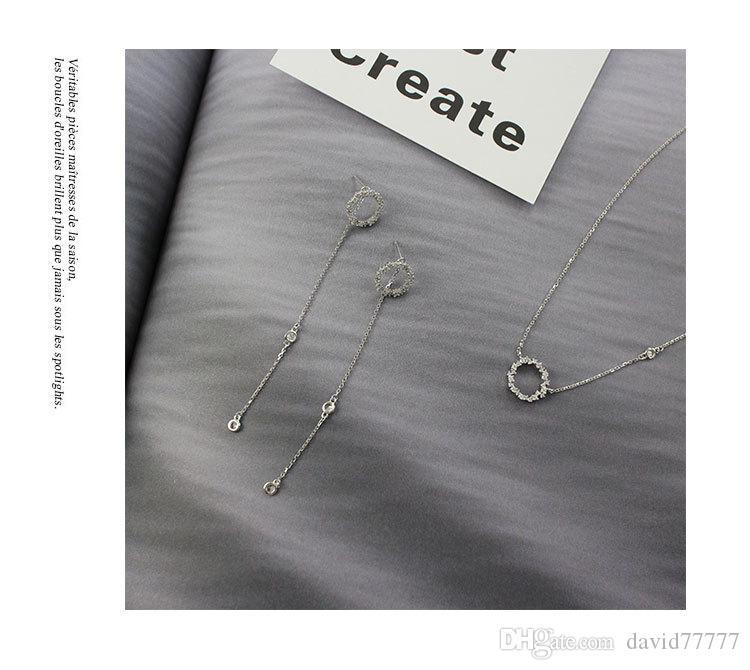 Серебряное Ожерелье Кулон Женщины Ожерелье 9525 Стерлингового Серебра Кулон Синее Море Легенда Циркон Геометрические Круг Ожерелье