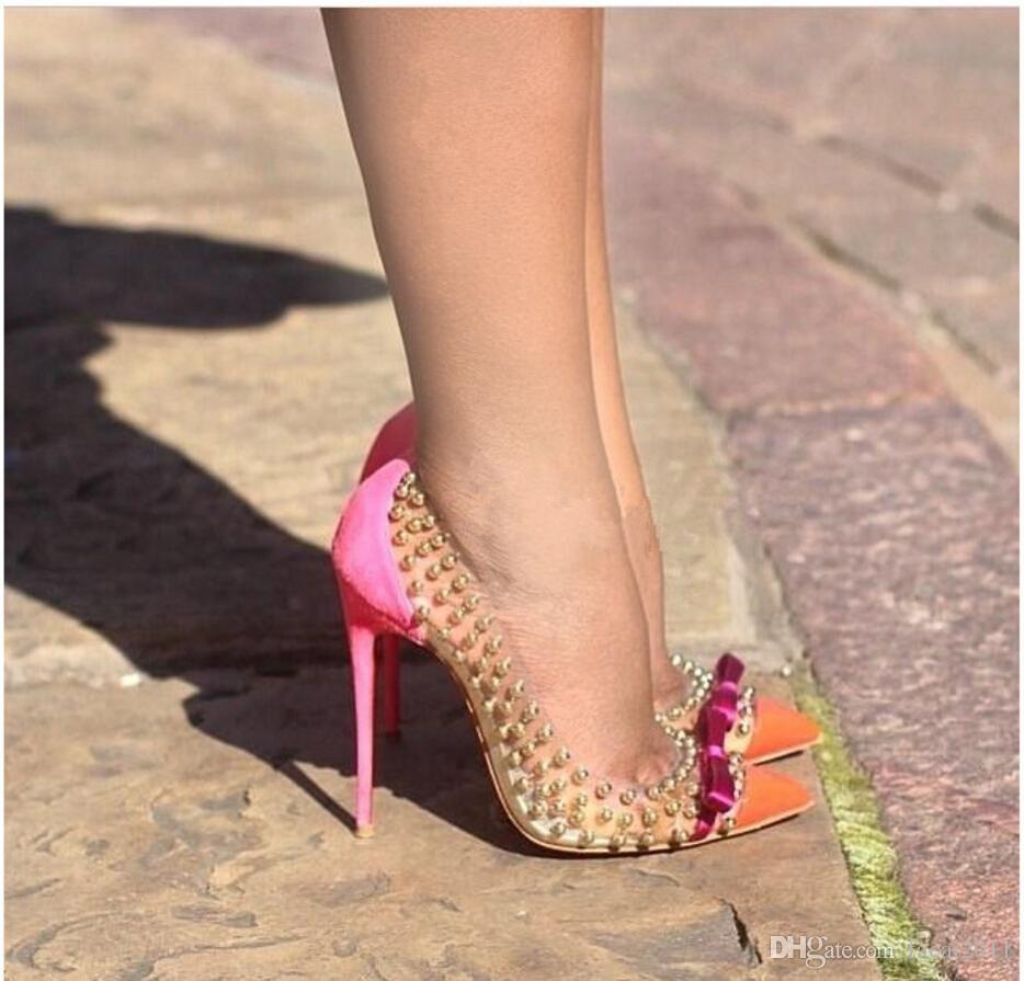 High Heels Pumpt Verkauf Schuhe Sexy Nieten Hot Hochzeitsschuhe 2018 Studded Patchwork Frauen lcF1TKJ