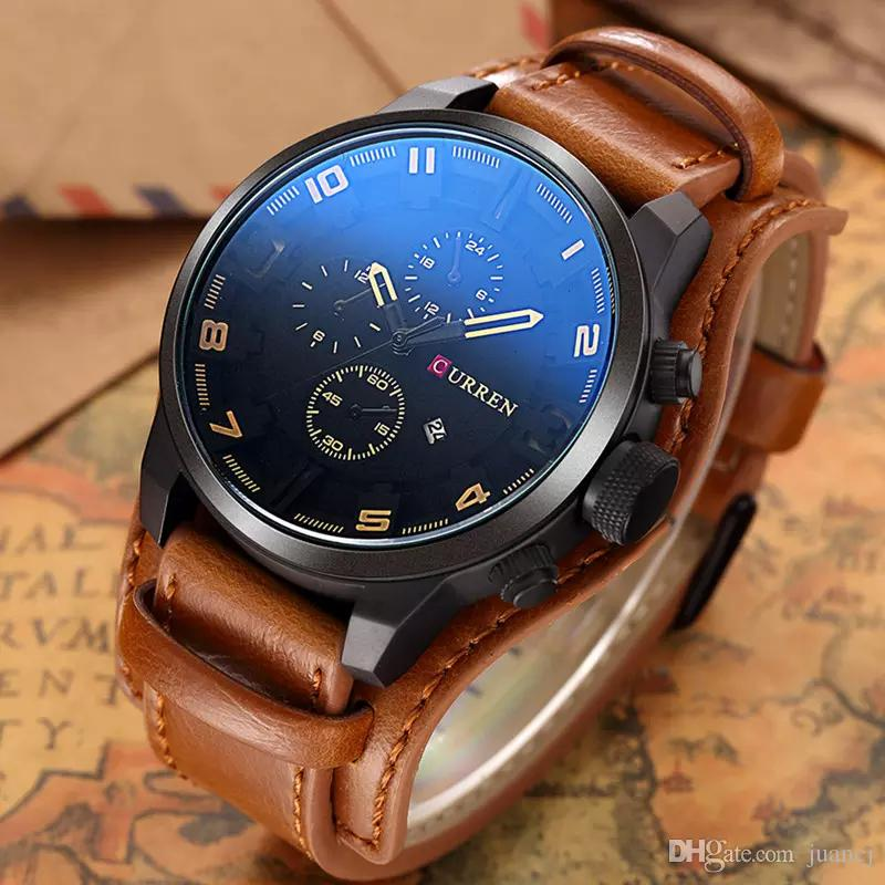 76ed670901f54 Curren Mens Relogio Masculino Wholesale 8225 Watches Men S Casual Sport  Quartz Watch Luxury Quartz Watch Leather Strap Military Watch Great Watches  ...