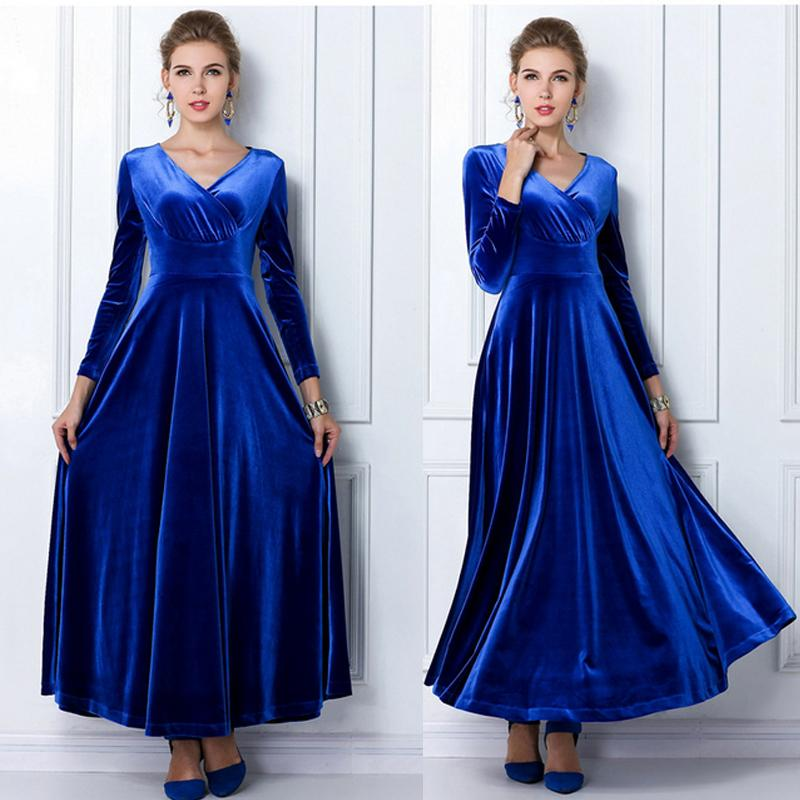 fde1018fbf89c Wholesale- Winter Women Plus Size Velvet Dress Long Sleeve Maxi Dress  Evening Party Vintage Dress Black Blue Green Purple Vestido Longo