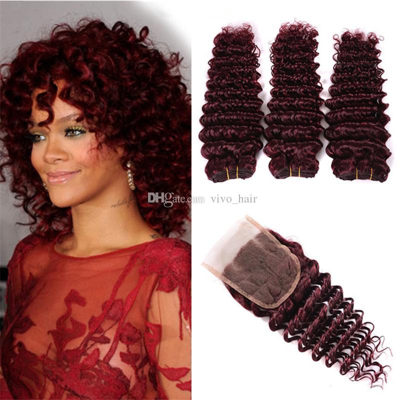 Borgogna capelli vergini indiani 3 fasci con chiusura # 99J trame di capelli umani onda profonda con chiusura in pizzo vino capelli rossi ricci