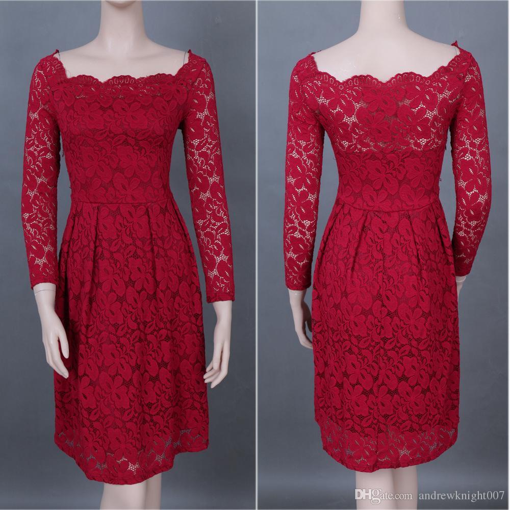 Womens Vintage Kleid Kate Prinzessin Mantel Bateau lange volle Hülse knielangen Spitzen Schärpen Promi Retro hohlen Kleid 5 Farben DK006MF