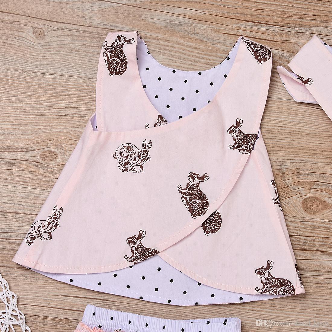 여름 새 아기 여자 의상 유아용 토끼 민소매 가슴 십자가 + 폴카 도트 반바지 + 머리띠 세트 여자 의류 세트 아동복
