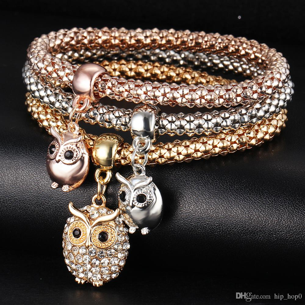 Eulen-Rhinestone-Kristallcharme-Armband in einem Setzt Armbänder 3 Farbe Schönheits-elastische Ketten-beiläufige Anhänger-Armbänder