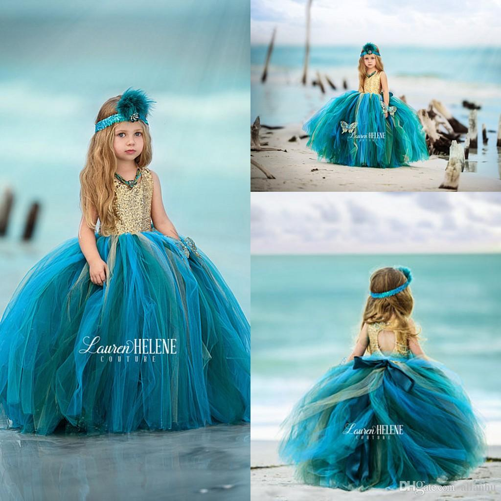 2017 Hunter Gold Sequins Tutu Flower Girl Dresses Tiered Tulle ...