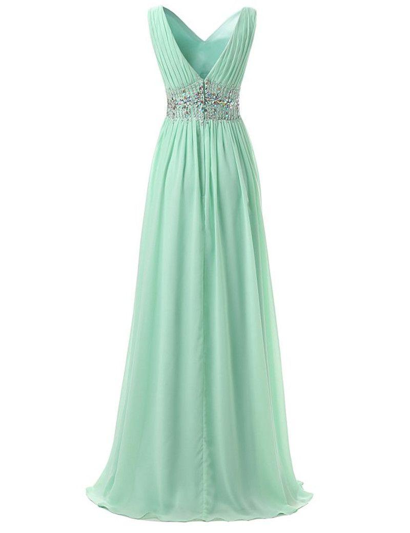 Ünlü Elbise Modelleri 2017 Elbiseler De Soiree Nane Yeşil şifon Floor Boyu Abiye Uzun Balo Parti Abiye