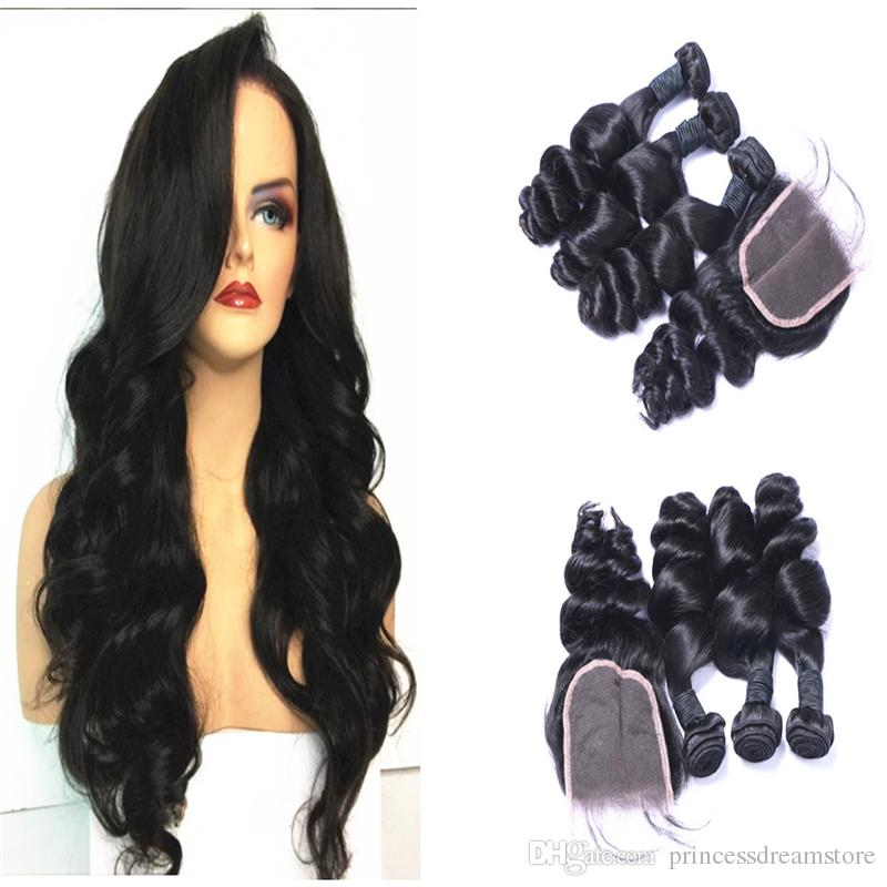 Best Quality Brazilian Human Hair Weft Extensions 3 Bundles And Top