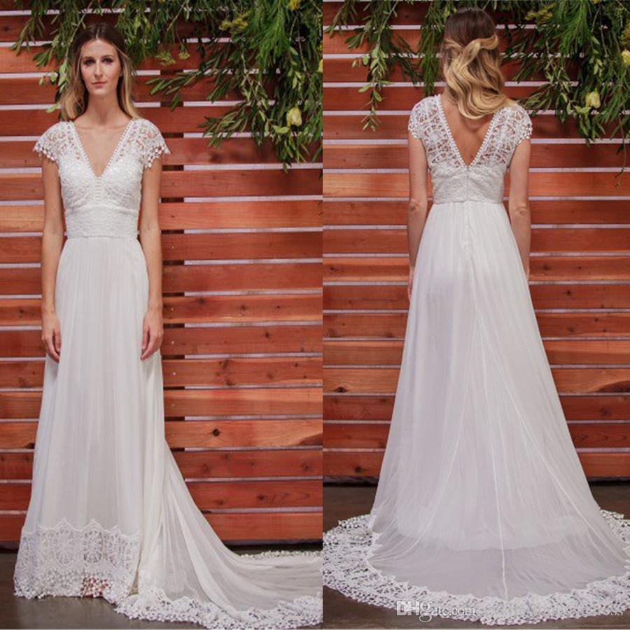 515e3ec386b Discount Low V Neck And Back Capped Sleeves And A Magnificent Court Length  Train Bohemian Wedding Dress Silk Chiffon Bridal Dresses Wedding Dresses  Sale ...