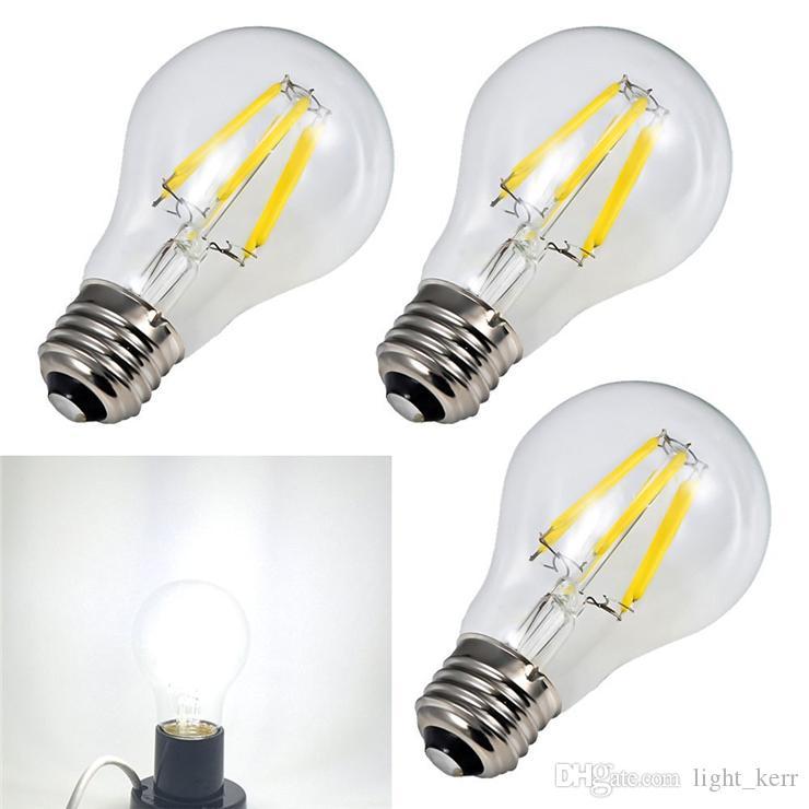 Hot Sale 6W/8W A60 E27/E26/B22 Dimmable LED Filament Light Bulb White Light 2800k/6400K Clear Glass Cover