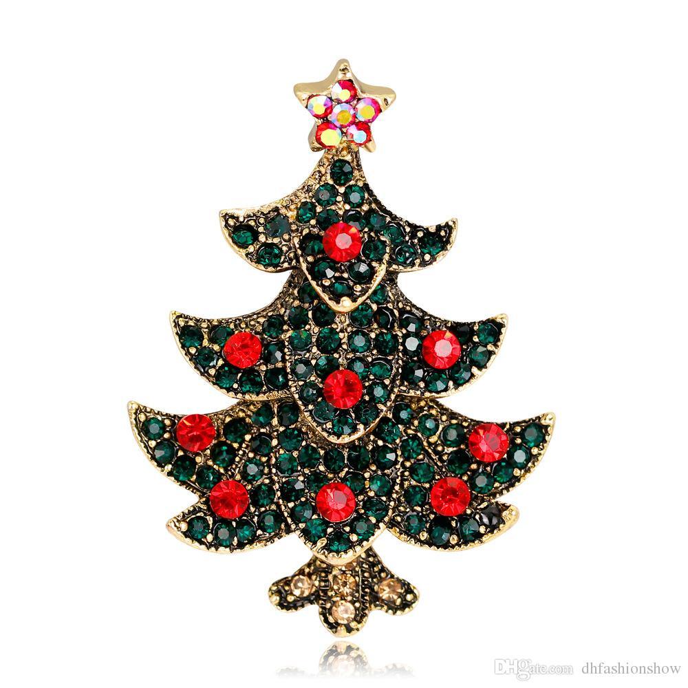 Weihnachtsbaum Rot Silber.Mode Weihnachtsbaum Brosche Antik Gold Silber Brosche Pins Rot Grün Kristall Strass Broschen Für Frauen Weihnachten Schmuck Als Geschenk