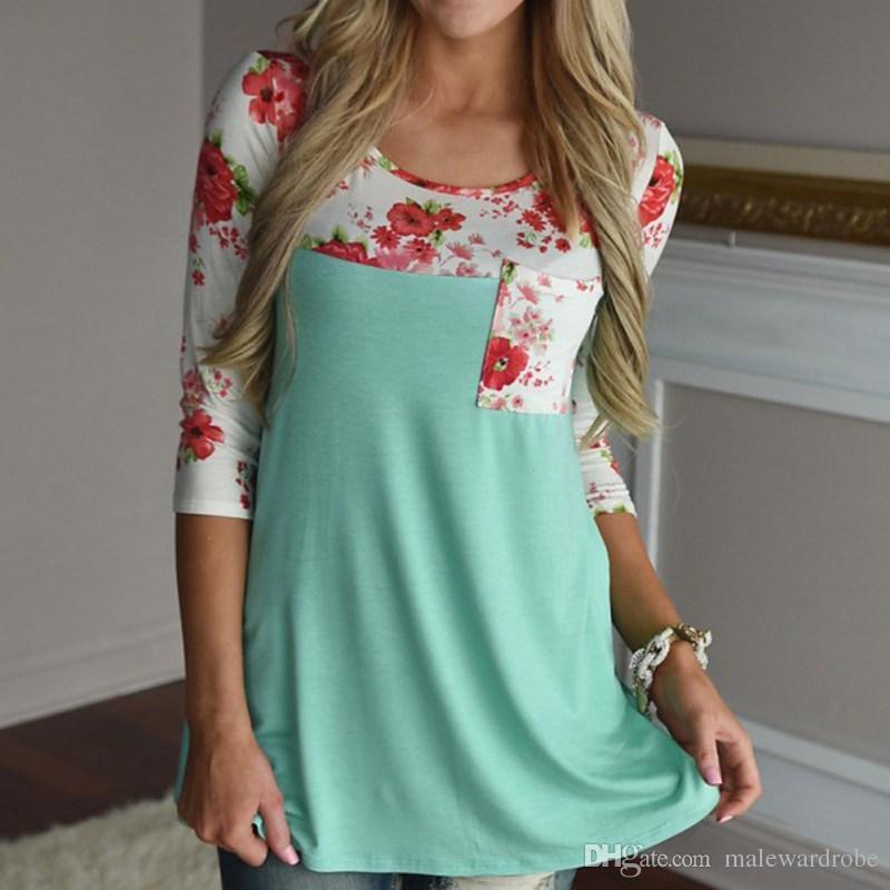 0f5ec64e5a87e Women Loose Cotton Tops Flower Print T Shirt Vintage Long Sleeve Shirt  Casual Female Tops Euramerican Style Trendy Mens T Shirts T Shirt Best From  ...