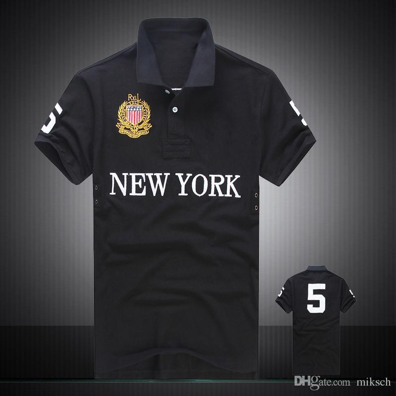Com desconto PoloShirt homens Camisa de manga Curta T marca Londres de Nova Iorque Chicago polo camisa dos homens Dropship Barato de Alta Qualidade Frete Grátis