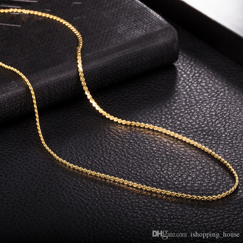 Super New Fashion Design 18K Yellow Gold Rose Gold Plated 1.5MM 450MM Sexy S Shape Necklace Chain for Men Women