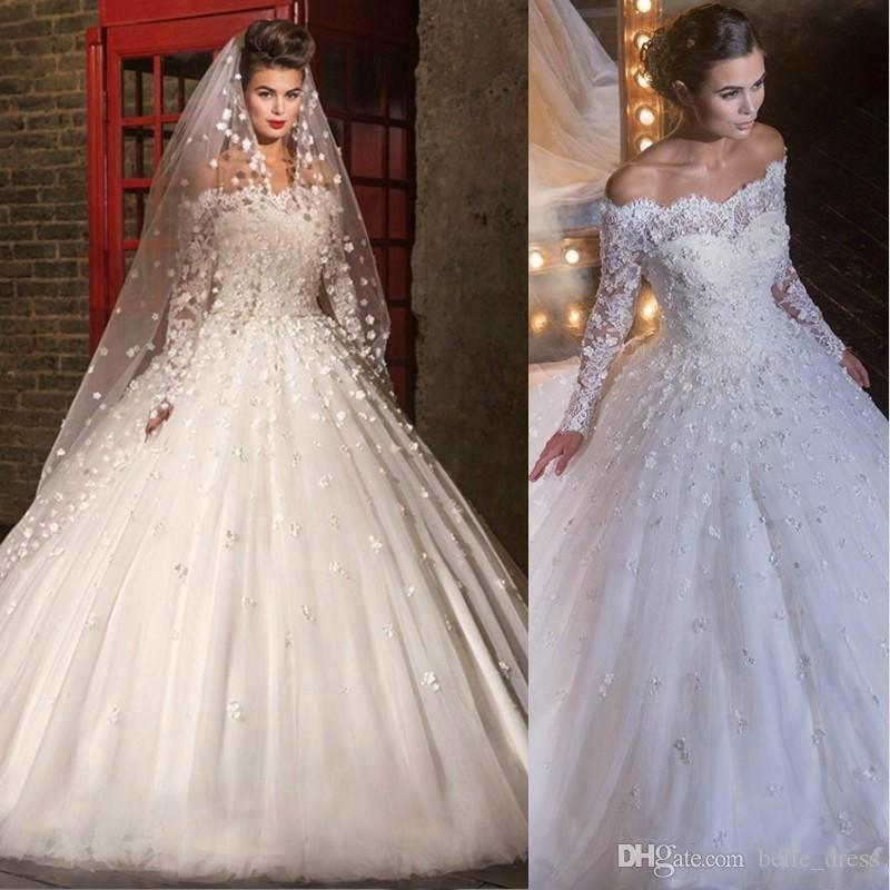 Discount Off Shoulder Wedding Dresses Long Sleeves Lace Flowers ...
