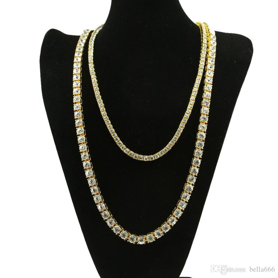 Men Zinc Alloy 1 Row RhineStone Necklaces HipHop Chain Gold Plated BlingBling Rock Punk Jewelry Set