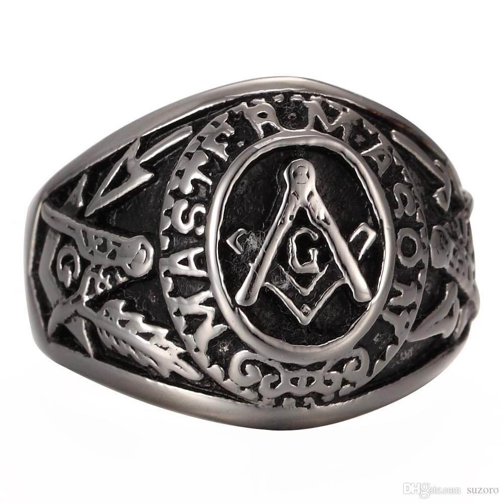 507aeb7034b99 Jewelry Men s stainless steel Masonic Vintage Ring Large G Mason Master  Freemason /Master mason Vintage signet Ring silver black