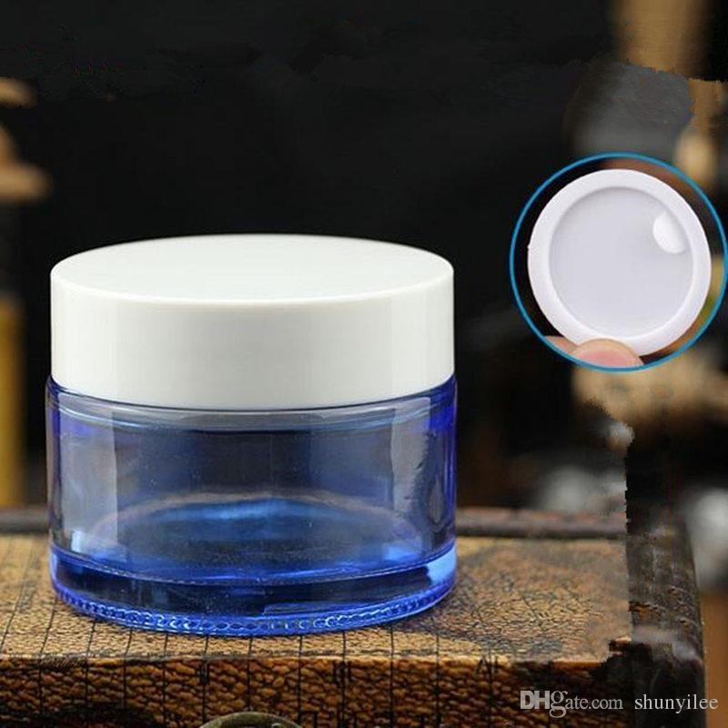 50g azul Garrafas De Vidro Creme Para Os Olhos jar vazio Cosmetic Container azul Make Up jarra de vidro Com tampa de prata branca F20171640