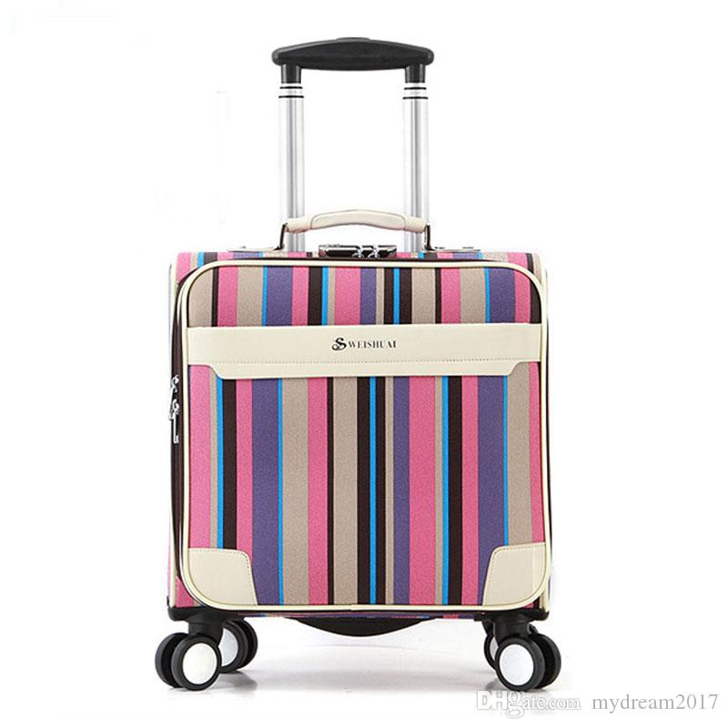 2017 Rainbow Leather Pu Business Travel Suitcase Trolley Travel ...
