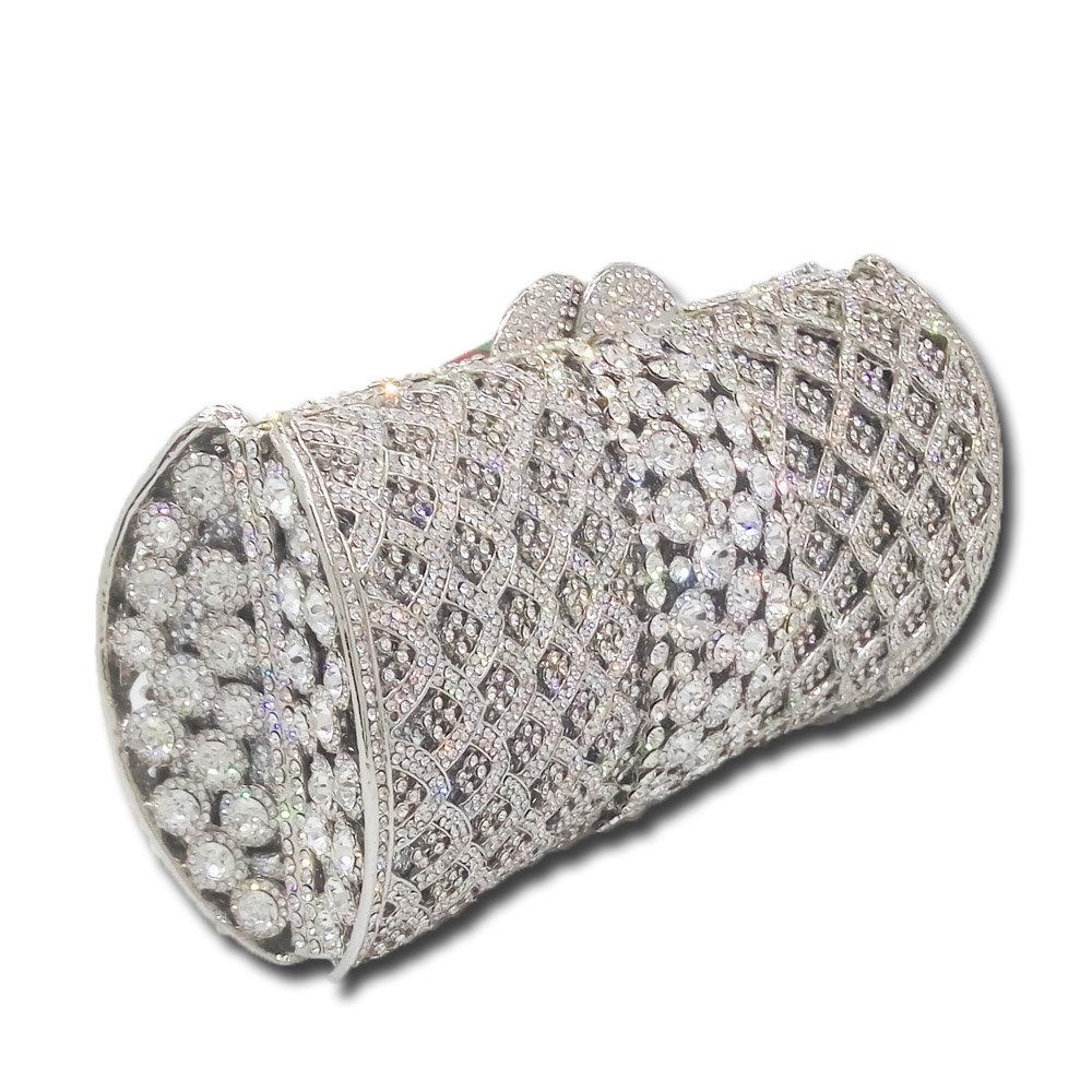 Éblouissant Socialite De Luxe Femmes Cristal Embrayage Sacs De Soirée De Mariée De Diamant De Mariage Embrayages Sac En Métal Hardcase Sac À Main