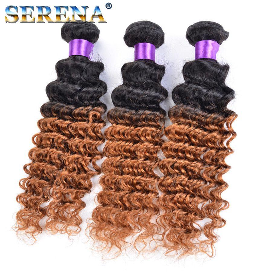 Dark Honey Blonde Hair Colorful 1B 30 Blonde Dark Root Ombre Brazilian Deep Wave Curly Human Hair Weave Weft Extensions 3 Bundles