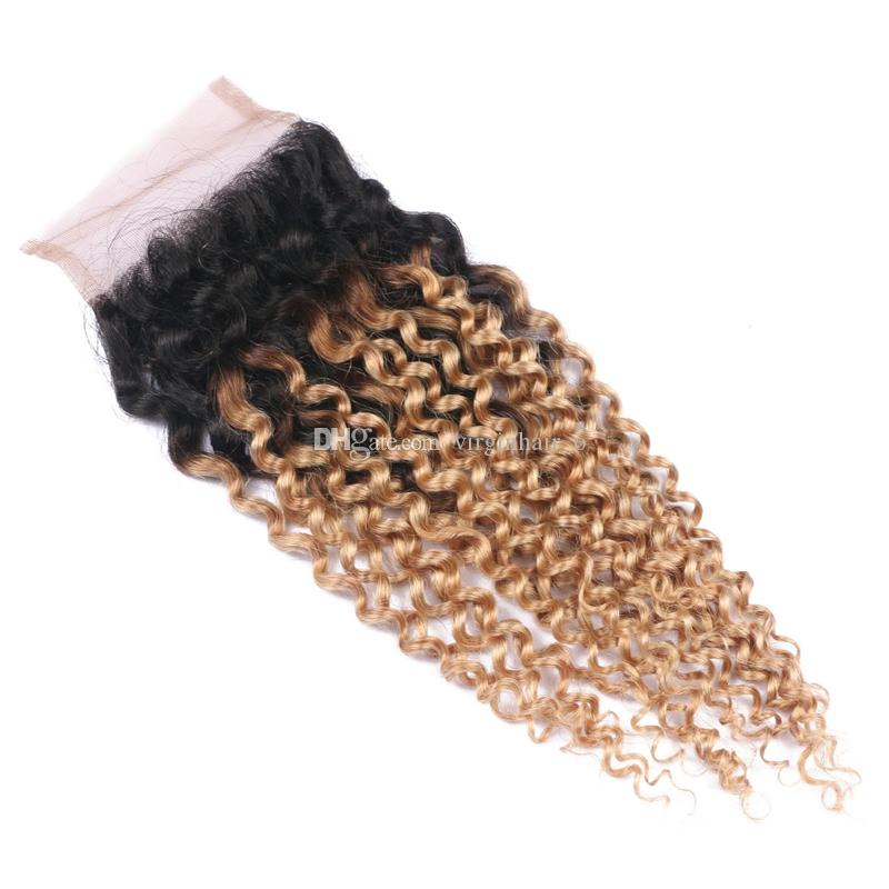 Afro Kinky Curly Lace Closure With Bundles #1B/27 Honey Blonde 4x4 Closure With 3 Bundles Dark Root Ombre Two Tone Human Hair