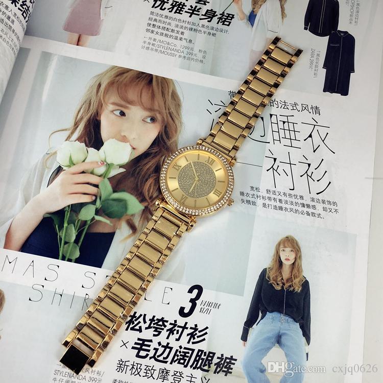 Yeni model Moda lady lüks saatler Saatı kadınlar İzle altın Paslanmaz Çelik siyah Bilezik Marka kadın saat ücretsiz kargo