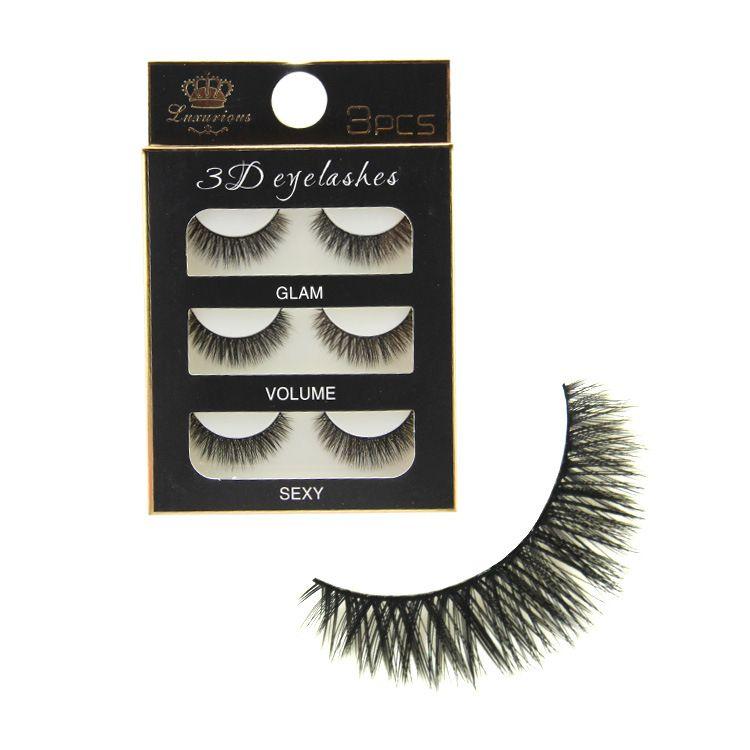 /set 3D Cross Thick False Eye Lashes Extension high quality Makeup Super Natural Long Fake Eyelashes Plastic cotton stems