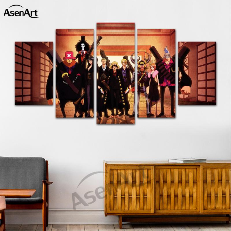 5 Panel Hanging Japanese anime Canvas Art Room Posters Prints Painting for Living Room Dining Room Decor Framed Ready to Hang Dropshipping
