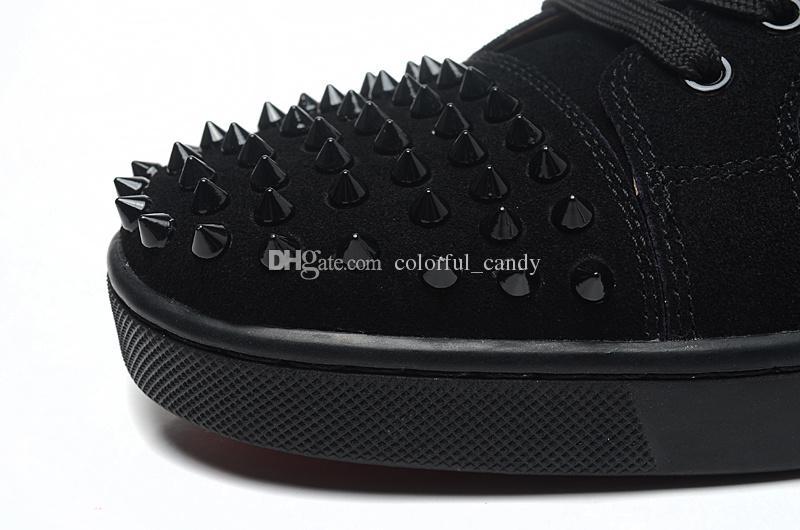 2017 Marque hommes baskets Spikes Rouge Fond Plat Chaussures Décontractées Hommes Bas Bas Top Rouge Clouté Noir Goujons Rivet Mâle Casual Chaussures
