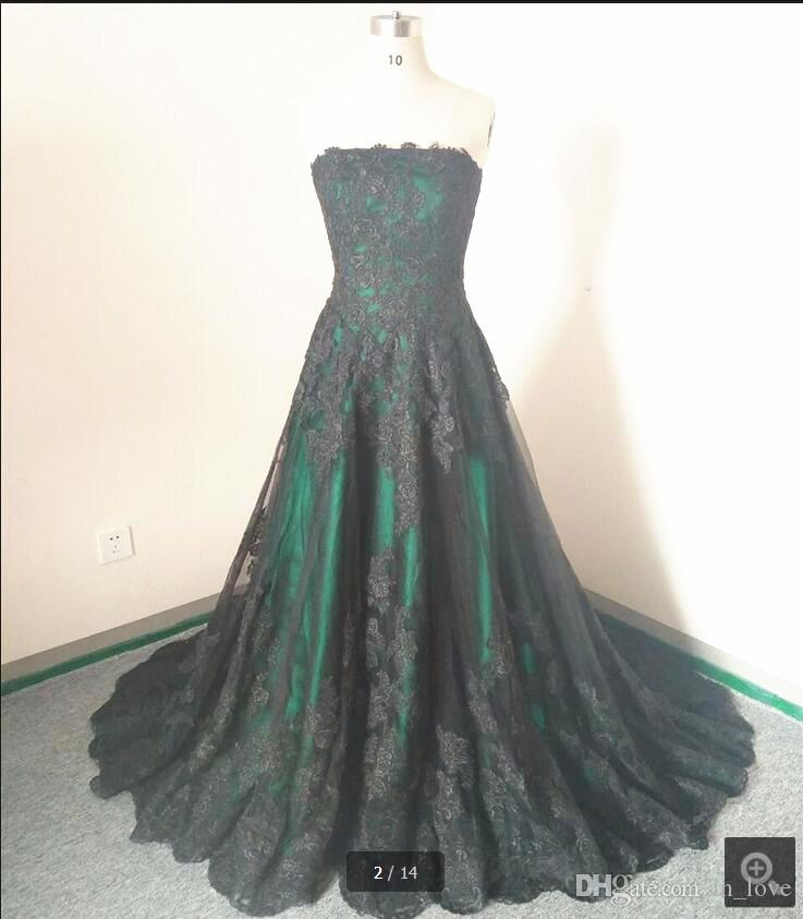 Gothic Style Green and Black Wedding Dresses Real Photo Strapless Lace A Line Floor Length Bridal Gowns Custom Size