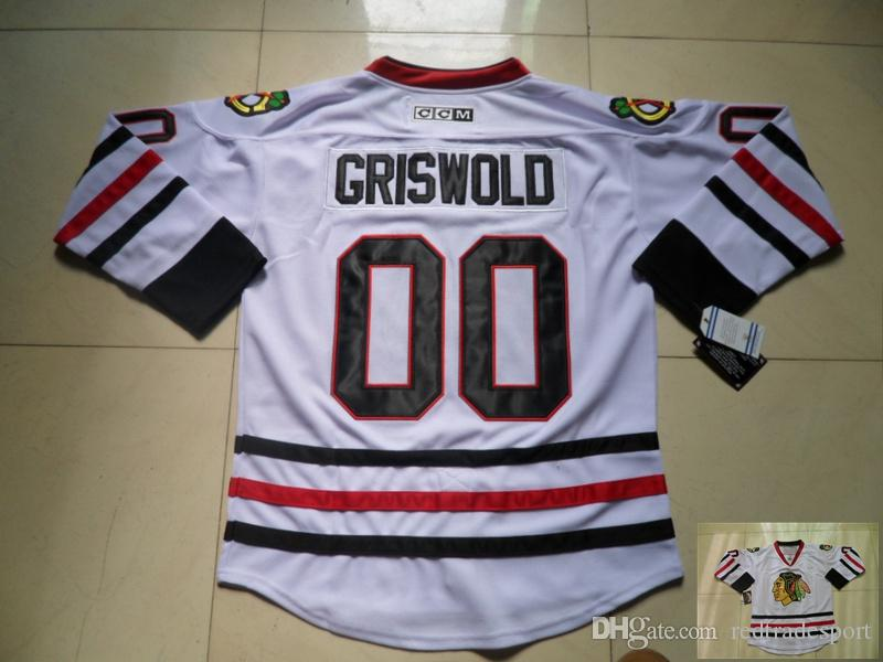 Vintage Chicago Blackhawks Hockey Jerseys 00 Branco baratos Clark Griswold Vintage Clark Griswold costurado Ice Hockey Jerseys S-XXXL