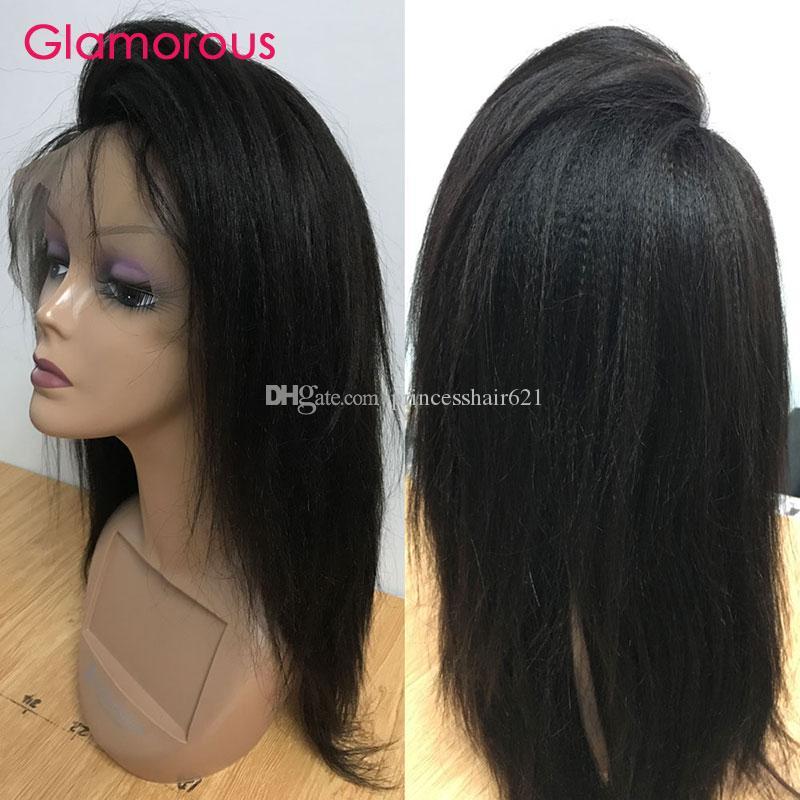 Glamouröse Licht Yaki Gerade Haarperücken Frontal Spitze Perücken Brasilianische indische mongolische kambodsche menschliche haare spitze frontperücke für schwarze frauen