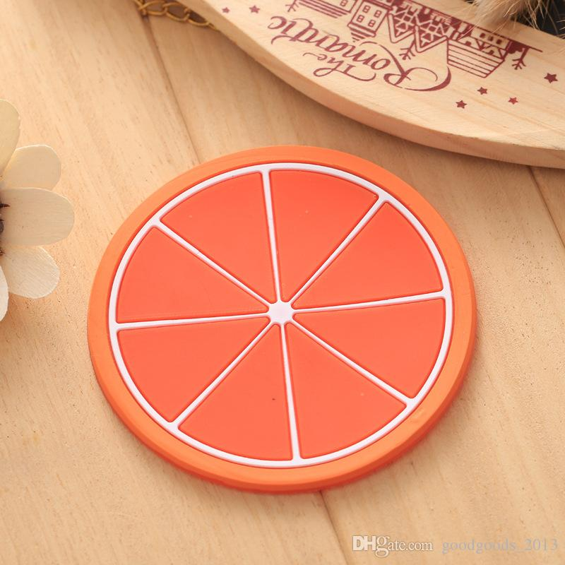 Silicone Fruit Jellylike Dining Coaster Kitchen Table Placemats Heat Insulation Bar Mag Cup Mats Pads Lemon Orange Pitaya Carambola b1270