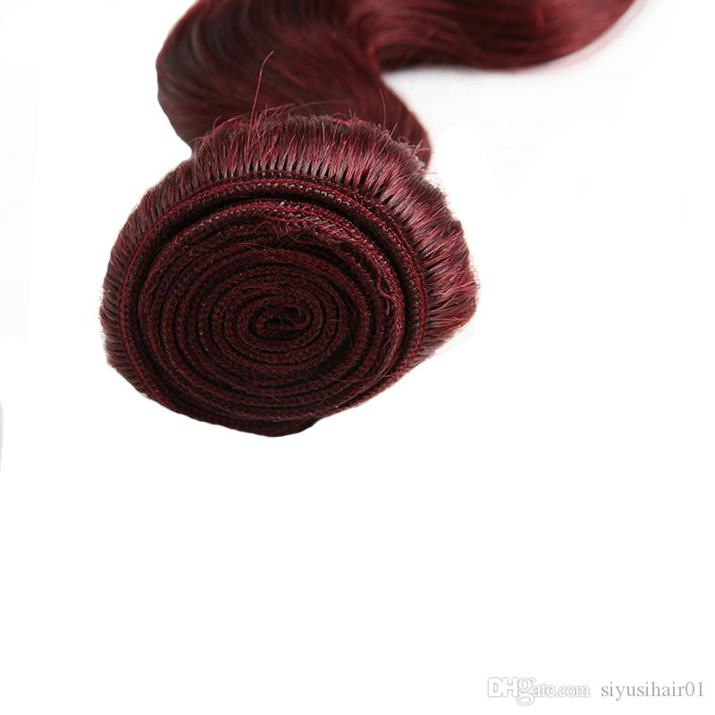 Цвет Бордовый Перуанский Малайзии Индийского Бразильского Виргинские Волосы Прямые/Объемная Волна Волос Соткет Связки Человеческих Волос