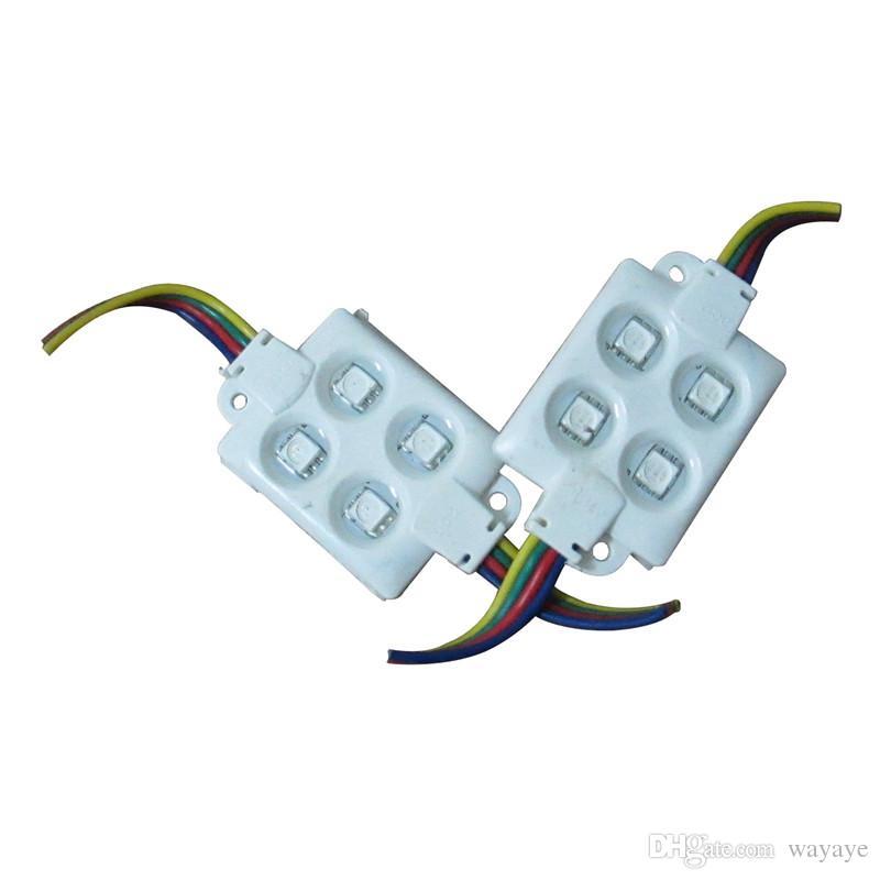 SMD 5050 LED Module Lights 4Leds DC12V 1.44W IP67 PVC 5050 RGB ABS LED Lights