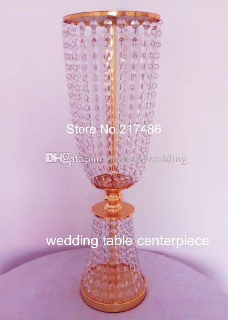 Günstige Crystal Mittelstücke für Hochzeiten / New Metal Gold Plated Kerzenhalter mit Kristall