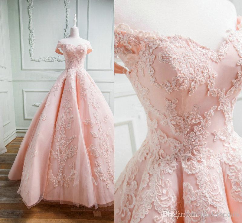 Compre 2018 Blush Pink Garden Vestidos De Novia Fotos Reales ...