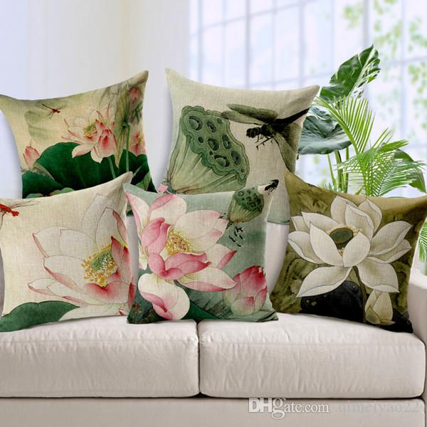 Antique Chinese Lotus Cushion Cover Hand Painted Linen Cotton