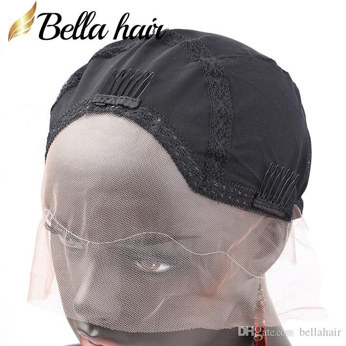 Pruikdoppen voor het maken van menselijk haarkantpruiken met verstelbare riem en kammen ademend zachte huid caps m / s / l bella haar