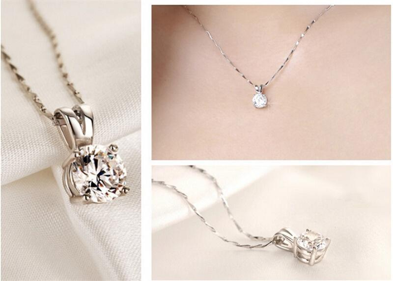 YHAMNI Luxe Grand 8mm 2 Ct CZ Diamant Pendentif Collier De Mode Mousseux Diamant Collier En Argent Massif Bijoux pour Femmes XF183