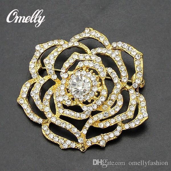 6d3fb628c5c Luxury Vintage Gold Filled Flower Brooch Pin Crystal Rhinestone ...