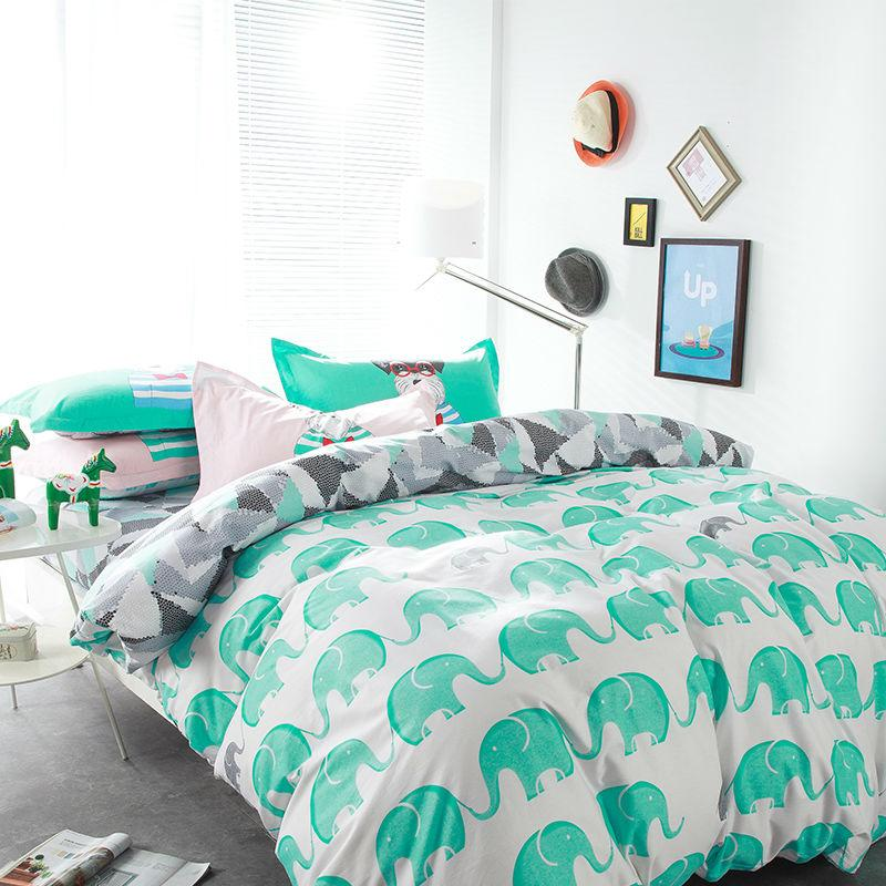 Wholesale-Fresh green elephant white linens 4pcs bedding sets high end cotton twin/single/double/queen size duvet cover set sheets sets